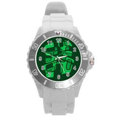 Green abstraction Round Plastic Sport Watch (L)