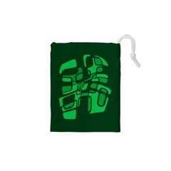 Green abstraction Drawstring Pouches (XS)