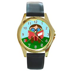 Brainiac Round Gold Metal Watch