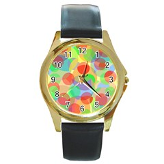 Colorful circles Round Gold Metal Watch