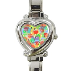 Colorful circles Heart Italian Charm Watch