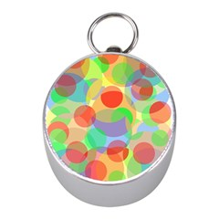 Colorful circles Mini Silver Compasses