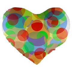 Colorful circles Large 19  Premium Flano Heart Shape Cushions