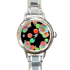 Colorful circles Round Italian Charm Watch