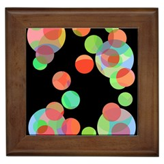 Colorful circles Framed Tiles