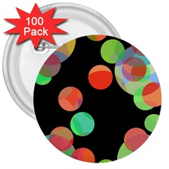 Colorful circles 3  Buttons (100 pack)