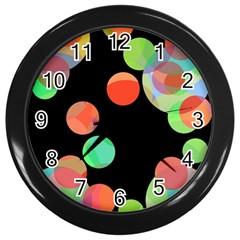 Colorful circles Wall Clocks (Black)