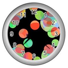 Colorful circles Wall Clocks (Silver)