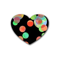 Colorful circles Rubber Coaster (Heart)