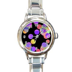 Colorful decorative circles Round Italian Charm Watch