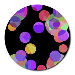 Colorful decorative circles Round Mousepads