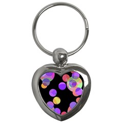Colorful decorative circles Key Chains (Heart)