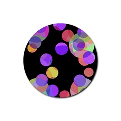Colorful decorative circles Rubber Coaster (Round)