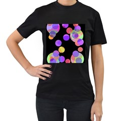 Colorful decorative circles Women s T-Shirt (Black) (Two Sided)