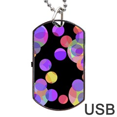 Colorful decorative circles Dog Tag USB Flash (One Side)