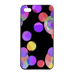 Colorful decorative circles Apple iPhone 4/4s Seamless Case (Black)