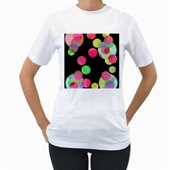 Colorful decorative circles Women s T-Shirt (White) (Two Sided)