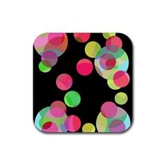 Colorful decorative circles Rubber Coaster (Square)
