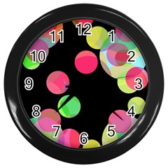 Colorful decorative circles Wall Clocks (Black)