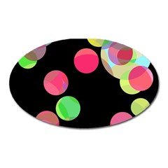 Colorful decorative circles Oval Magnet