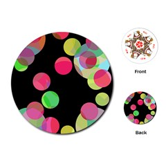 Colorful decorative circles Playing Cards (Round)