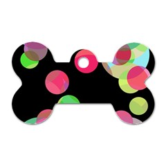 Colorful decorative circles Dog Tag Bone (Two Sides)