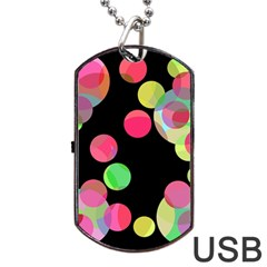 Colorful decorative circles Dog Tag USB Flash (Two Sides)