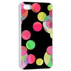 Colorful decorative circles Apple iPhone 4/4s Seamless Case (White)