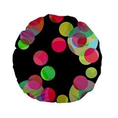 Colorful decorative circles Standard 15  Premium Flano Round Cushions
