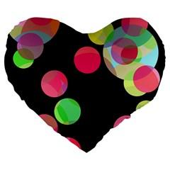 Colorful decorative circles Large 19  Premium Flano Heart Shape Cushions