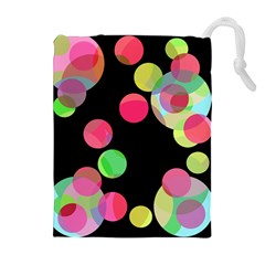 Colorful decorative circles Drawstring Pouches (Extra Large)