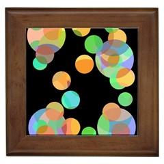 Orange circles Framed Tiles
