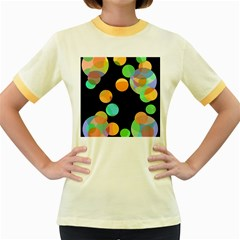 Orange circles Women s Fitted Ringer T-Shirts