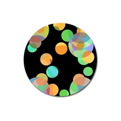 Orange circles Magnet 3  (Round)