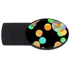 Orange circles USB Flash Drive Oval (1 GB)
