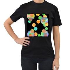 Orange circles Women s T-Shirt (Black)