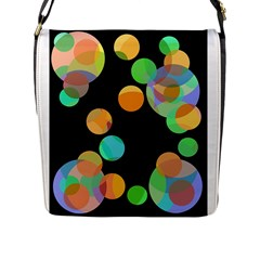 Orange circles Flap Messenger Bag (L)