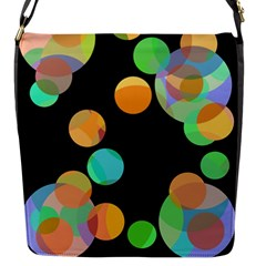 Orange circles Flap Messenger Bag (S)