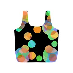 Orange circles Full Print Recycle Bags (S)