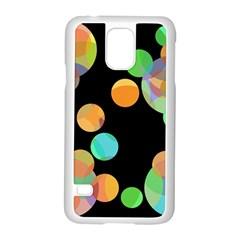 Orange circles Samsung Galaxy S5 Case (White)