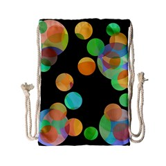 Orange circles Drawstring Bag (Small)