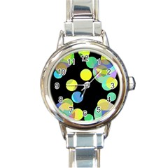 Yellow circles Round Italian Charm Watch