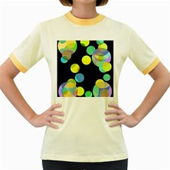 Yellow circles Women s Fitted Ringer T-Shirts