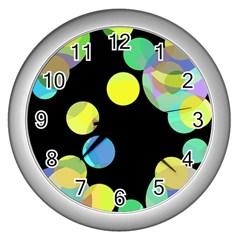Yellow circles Wall Clocks (Silver)