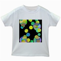 Yellow circles Kids White T-Shirts