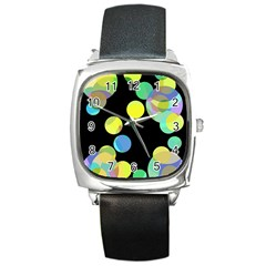 Yellow circles Square Metal Watch