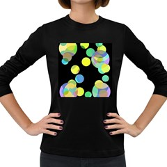 Yellow circles Women s Long Sleeve Dark T-Shirts