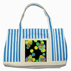 Yellow circles Striped Blue Tote Bag