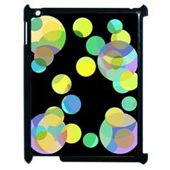 Yellow circles Apple iPad 2 Case (Black)