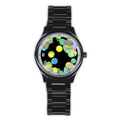 Yellow circles Stainless Steel Round Watch